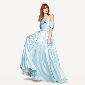 Fame and Partners Pale Blue Taffeta Gown